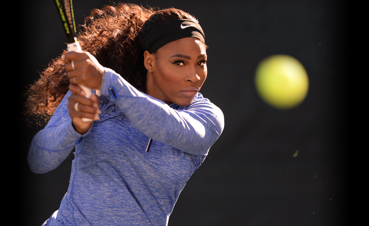 Serena Williams prepares to teach her MasterClass on the tennis court