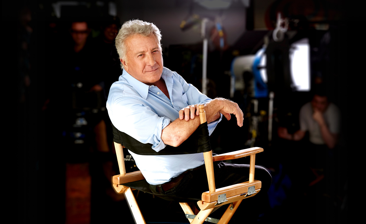 Dustin Hoffman sits in a chair while teaching a lesson in his acting MasterClass