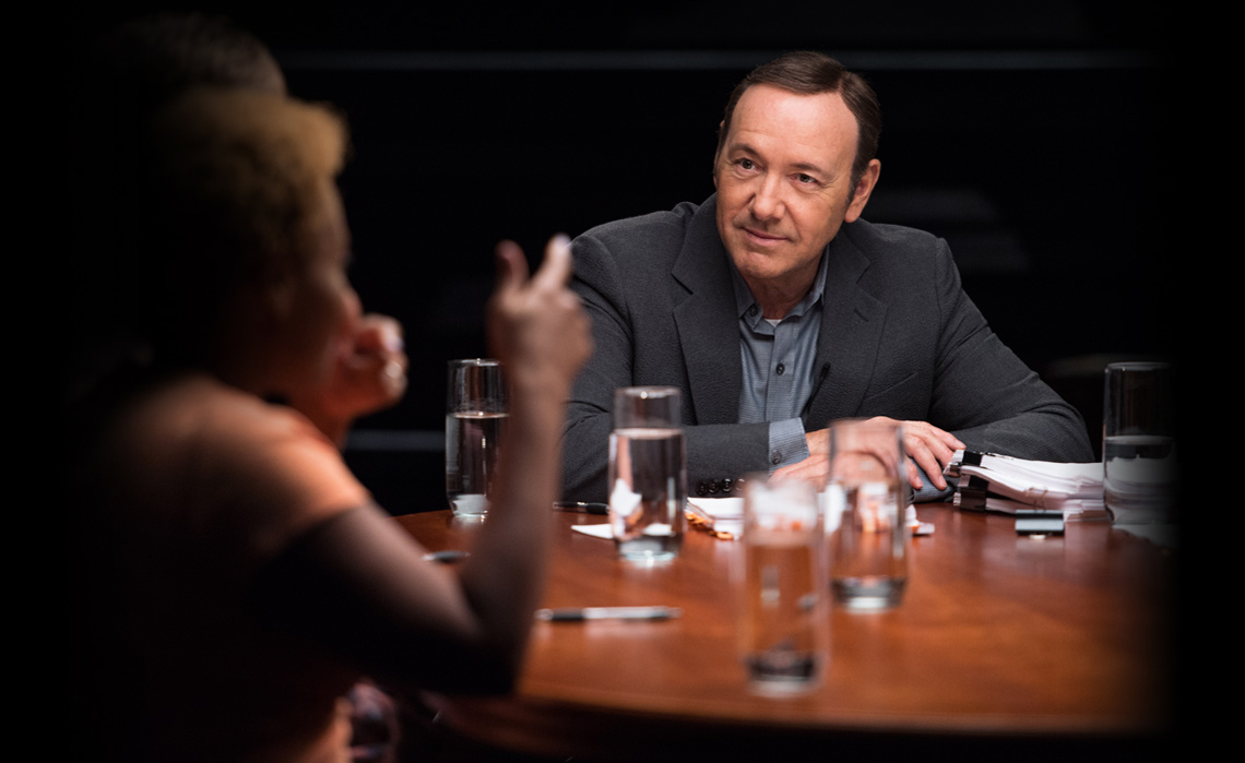 Kevin Spacey looks the camera while teaching an acting lesson in his online MasterClass
