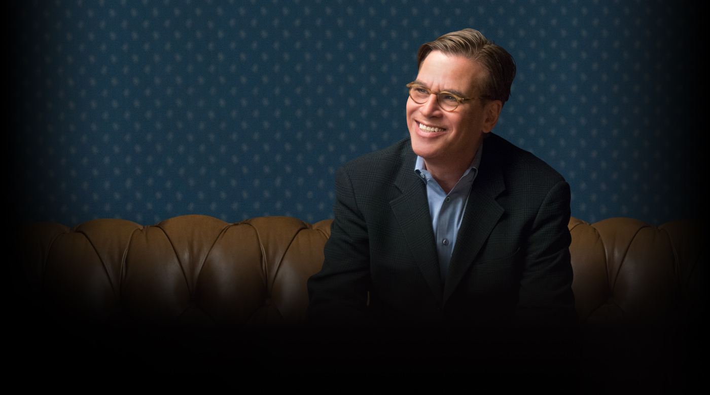 Aaron Sorkin, writer of The Social Network and The West Wing, looks at the camera during his online screenwriting class where he teaches writing scripts and screenplays for film and television.